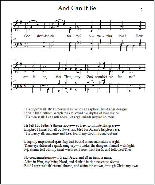 Melody, harmony, and lyrics for the hymn of worship