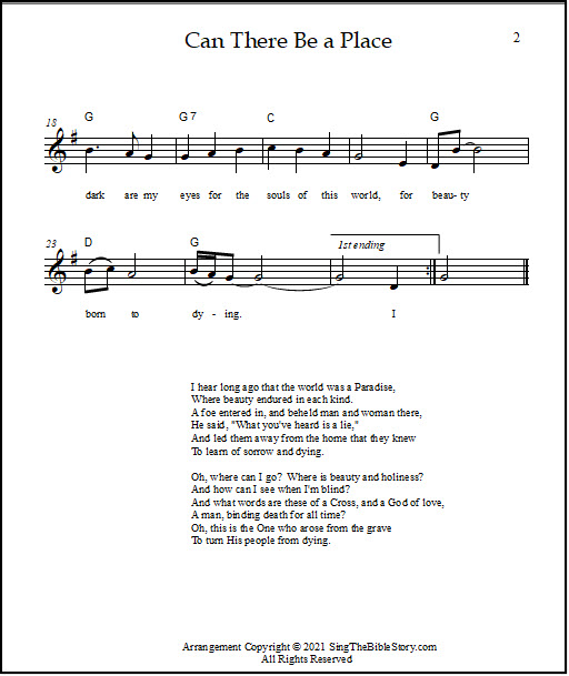 hymn sheet music with chords