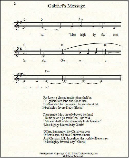 The Angel Gabriel from heaven came sheet music