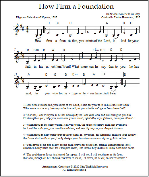 How Firm a Foundation hymn sheet music with chords - a lead sheet