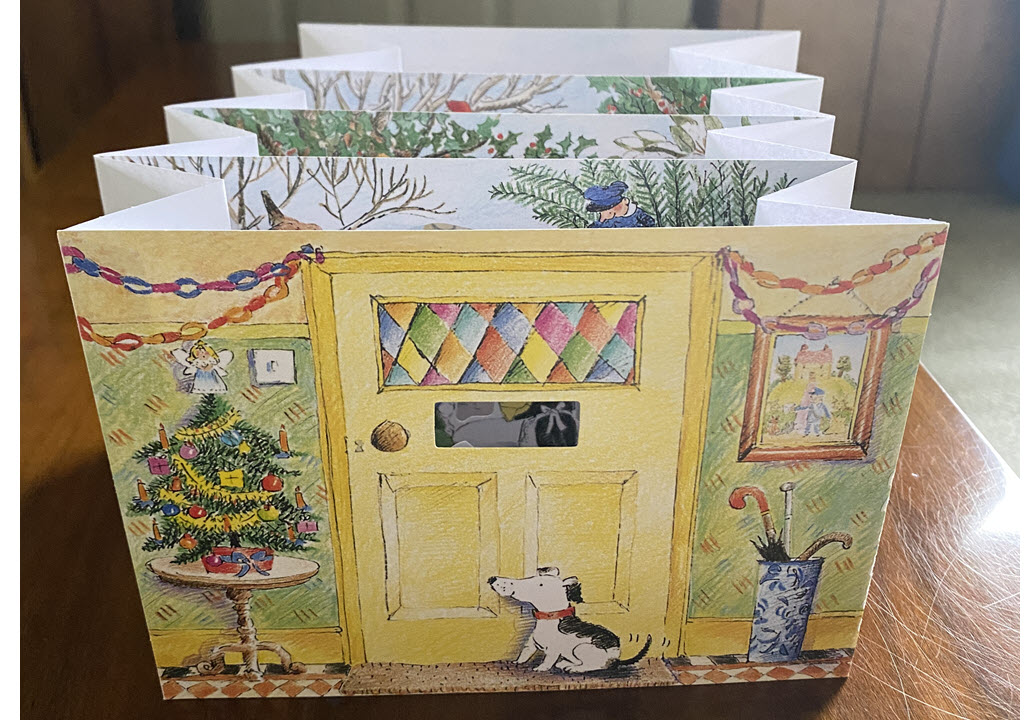 An accordion book with hidden pictures
