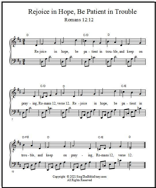 Bible verse song for piano, Rejoice in Hope