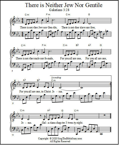 Piano sheet music for the Bible verse