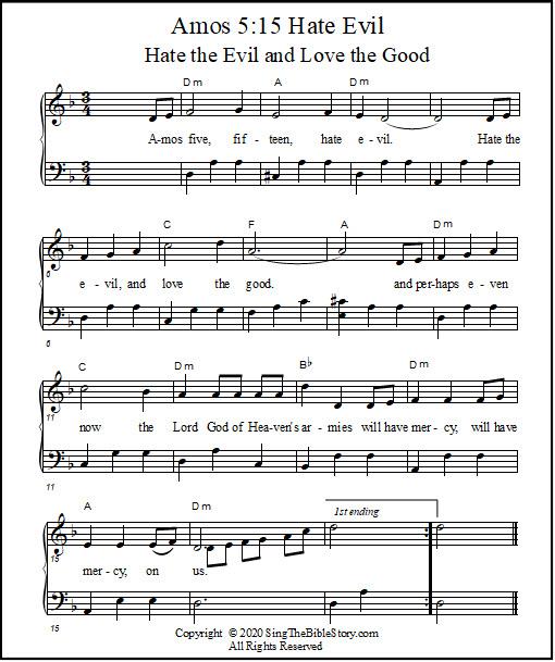 Bible song piano music