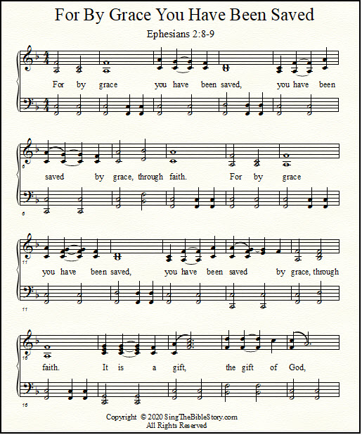 Piano and vocal sheet music for Ephesians 2:8-9,