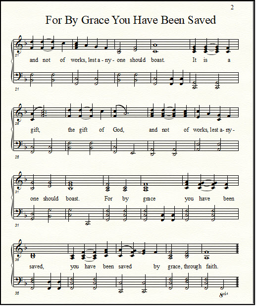 For By Grace You Have Been Saved, a song for piano and voice