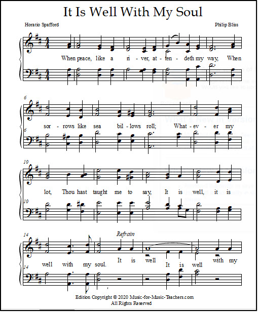 Four-part harmony for It Is Well With My Soul, church hymnal sheet music
