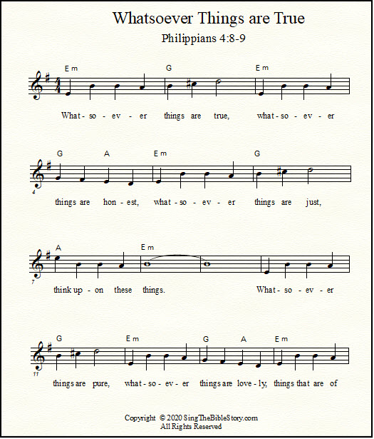 Lead sheet music for the Bible verses from Philippians 4 - sing the Bible verses