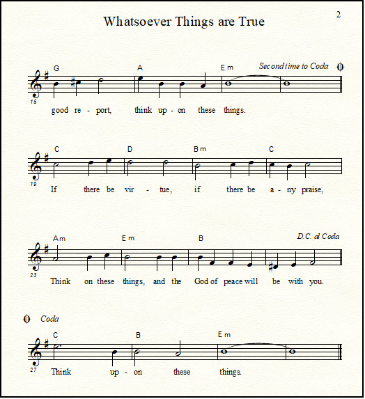 A music lead sheet for the Bible song