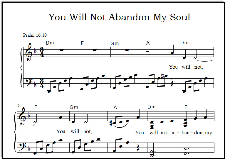 A closeup of the sheet music for the Bible verse song